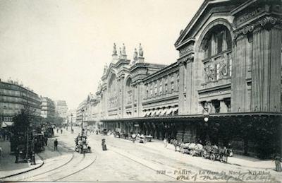 Gare du Nord, antique post card. Public domain image.
