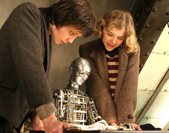 Butterfield and Moretz in HUGO.