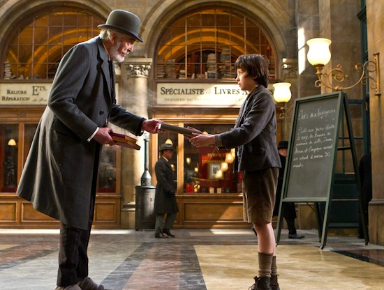 Christopher Lee and Asa Butterfield in HUGO.