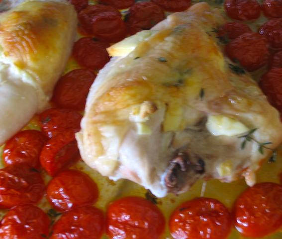 Chicken breasts stuffed with goat cheese and tomatoes. Photo: Debra Fioritto
