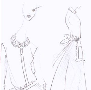 Sketches of server uniform by couture designer Alexis Mabille for Angelina. Photo courtesy Angelina.