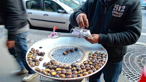 Hot chestnuts on a Paris street. Photo by Jacqui Guglielmino