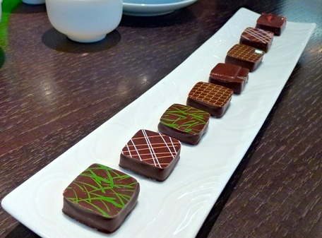 Plate of 7 Jacques Genin chocolates for dine-in. Photo by Jacqui Guglielmino
