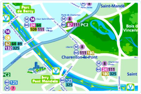 Vogueo water bus map courtesy STIF