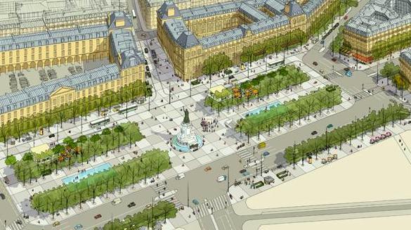 Plans for Place de la Republique. ©Trévelo & Viger-Kohler architectes
