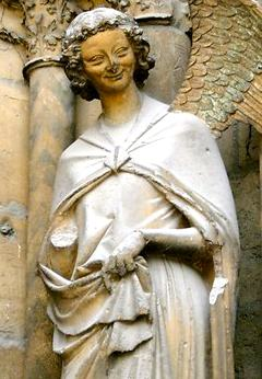 The Smiling Angel of Reims. Photo courtesy Reims Cathedral of Notre-Dame.