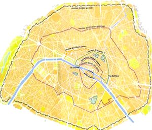 Paris Walls     Public domaine map, source: Wikimedia