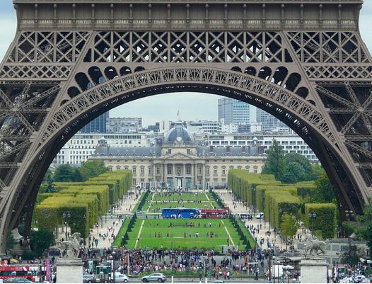 Champ de Mars below Eiffel Tower. Photo: b00nj