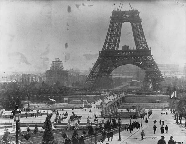 Eiffel Tower mid-construction, circa 1878. Public domain image.