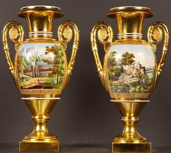 19th century porcelain vases at Louvre Antiquaires.