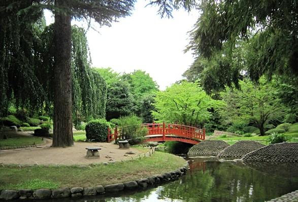 Japanese bridge in gardens. Photo by Arno Drucker