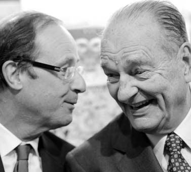 Francois Holland and Jacques Chirac ©Jean-Pierre Muller-AFP