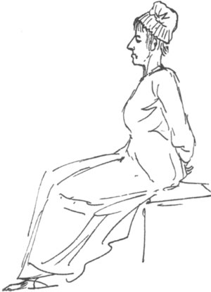 Sketch of Marie-Antoinette enroute to guillotine.
