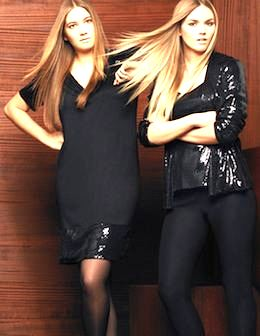Gerlane models wearing Persona. Publicity photo.