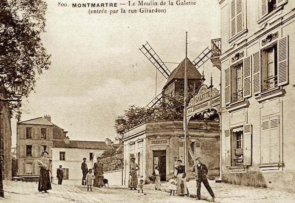 Montmartre in 1910, antique postcard.