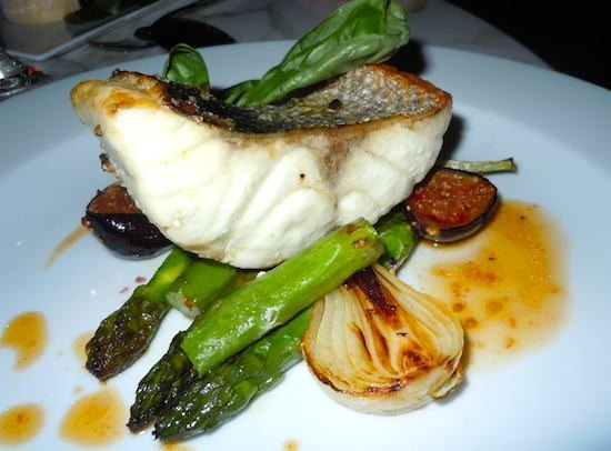 SEA BASS A LA PLANCHA FIGS AND ASPARAGUS AT CAFFE BURLOT. Photo: M. Kemp