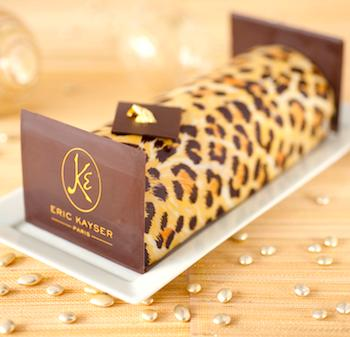 Limited edition holiday leopard Buche Noel at Maison Kayser. Photo: Marianne Paquin.