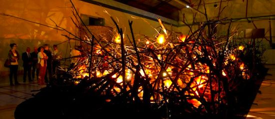 BGL's bonfire exhibition at MAC/VAL. Publicity photo.