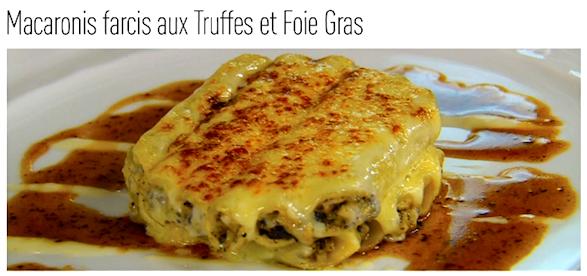 Macaronis farcis aux Truffes et Foie Gras, Les Tablettes de Nomicos. Publicity photo.