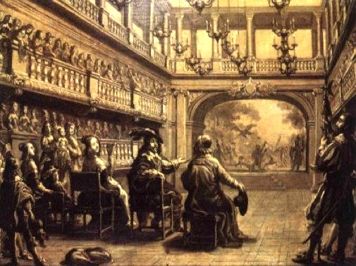 Palais-Cardinal in 1641, King Louis VIII + queen with Cardinal Richelieu at Richelieu's private theater (later Palais-Royal). Public domain image..