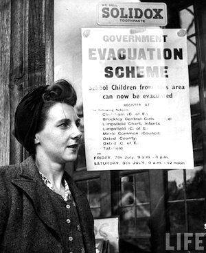 Posted evacuation notice poster in 1939   Photo credit ©Hans Wild-LIFE Images