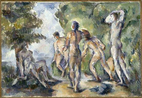 Paul Cézanne, Les baigneurs, vers 1892. Huile sur toile, 22 x 33 cm. Lyon, Musée des Beaux Arts, dépôt du musée d'Orsay. ©Service presse Rmn-Grand Palais (Musée d'Orsay) / René-Gabriel Ojéda