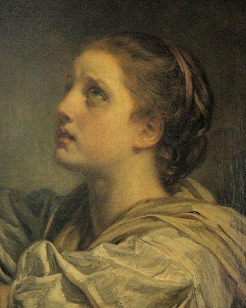 """""""Tete du jeune fille"""" by Greuze. Public domaine."""