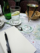 Writing in a Paris cafe