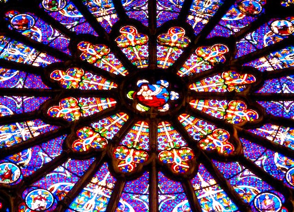 Saint-Denis stained glass window. Photo by S. Peabody.