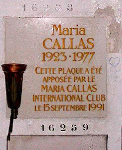 Maria Callas marker at Pere-Lachaise Cemetery, Paris