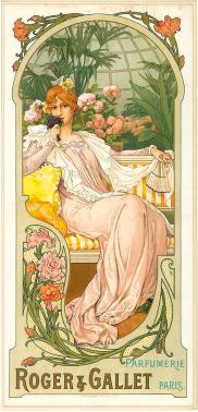 Mucha art on Roger&Gallet ad, circa 1900   Photo courtesy of Roger&Gallet