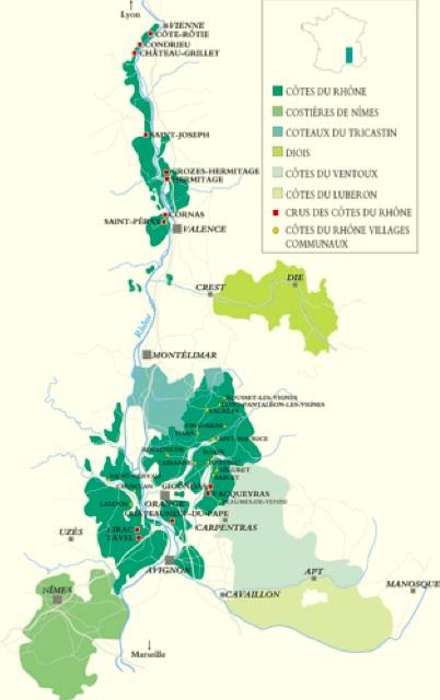 Map of Côtes du Rhône wine production area.