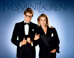 YSL & Catherine Deneuve in YSL signature smoking jackets