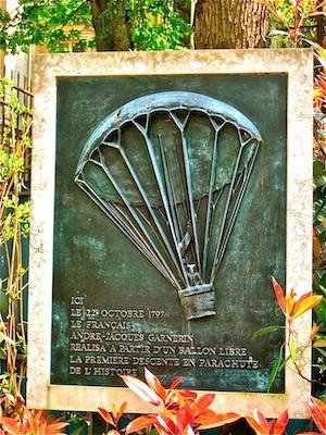 Plaque commemorating André Jacques Garnerin's first ascent
