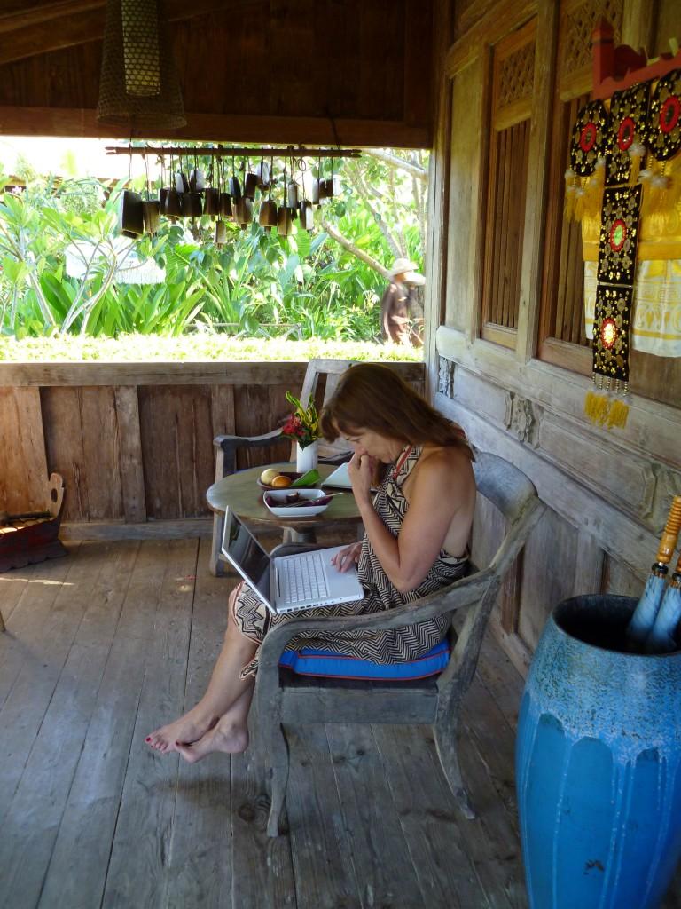 Ellen Sussman in Bali.  Photo courtesy of EllenSussman.com